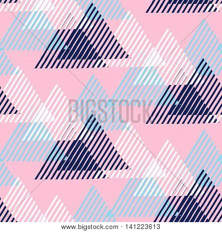 Vector seamless geometric pattern with striped triangles, abstract dynamic shapes in blue, pink, white colors. Hand drawn funky background with lines in 1990s fashion style. Modern tech textile print.