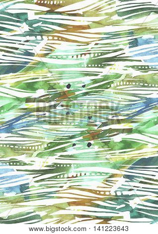 Abstract watercolor background with green and blue brush strokes in stripe texture hand drawn with freehand blobs splashes and blank space. Vertical illustration with pattern good for presentations.