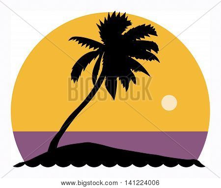 Palm tree holiday theme sign, vector illustration