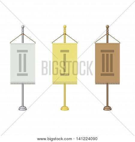 Set of vector flag stands. Gold, silver and bronze flag poles. Isolated on white.