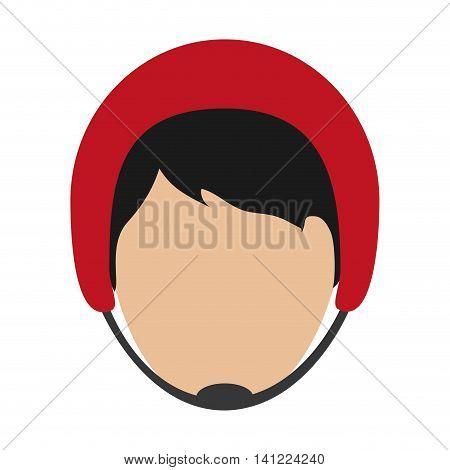 flat design man wearing helmet icon vector illustration