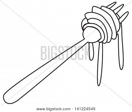 Vector illustration of noodles on fork in black and white outlined doodle style
