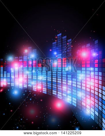 Old retro 80 style of equalizer with 3d perspective effect , night music club life vector concept