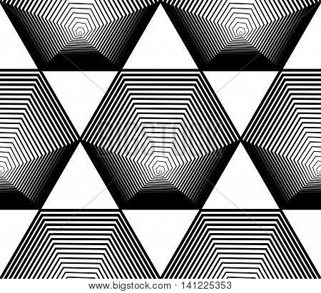 Black and white illusive abstract seamless pattern with geometric figures.