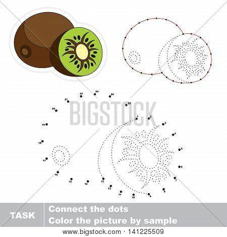 Sweet Kiwifruit in vector to be traced by numbers. Easy educational kid game. Simple level of difficulty. Education and gaming for kids. Vector visual game for children.