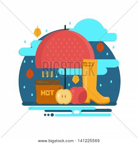 Autumn rain composition in flat style. Fall illustration with umbrella hot coffe and rubber boots. Vector flat style concept.