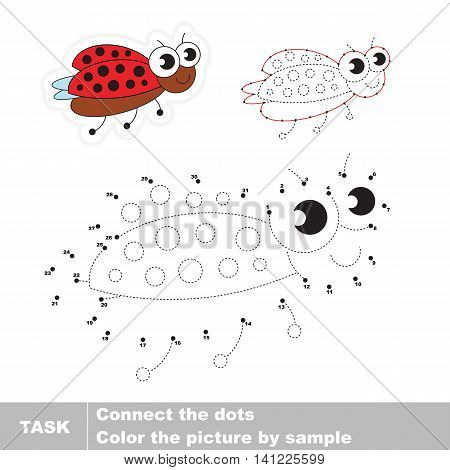 Ladybird in vector to be traced by numbers. Easy educational kid game. Simple game level. Education and gaming for kids. Vector visual game for children.