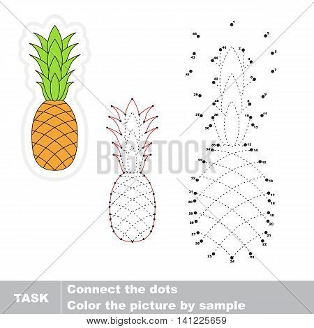 The pineapple in vector to be traced by numbers. Easy educational kid game. Simple game level. Education and gaming for kids. Vector visual game for children.