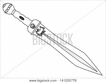 A sword as used by the Roman soldiers and gladiators isolated on a white background. Vector