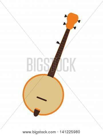 flat design single banjo icon vector illustration