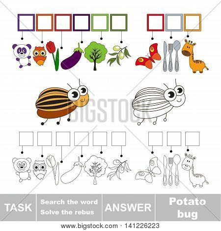 Vector rebus game for children. Easy educational kid game. Simple game level. Find solution and write the hidden word Potato Bug