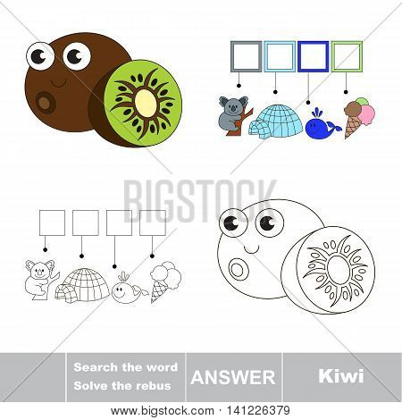 Vector rebus game for children. Easy educational kid game. Simple game level. Find solution and write the hidden word Kiwi.
