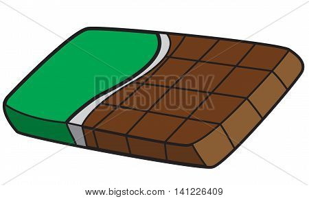 Vector illustration of a chocolate bar in colored doodle style