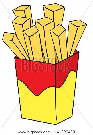 Vector illustration of a french fries in colored doodle style
