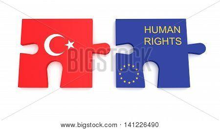 Turkey EU Crisis: Turkish Flag And EU Flag Human Rights Puzzle Pieces 3d illustration