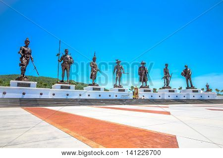 HUA HIN THAILAND-JUNE 192016 :Ratchapak Park and the statues of seven former Thai kings were constructed by the Royal Thai Army under royal permission from His Majesty King Bhumibol Adulyadej