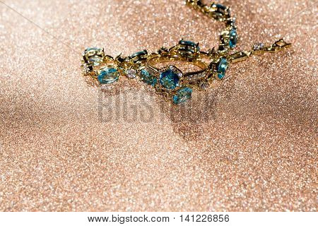 Gold Bracelet With Blue Topaz