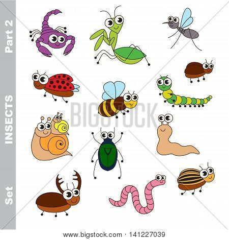 Small cute insects set in vector, the colorful version.