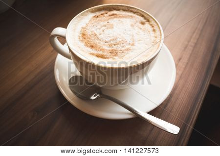 Cappuccino. Cup Of Coffee On Table