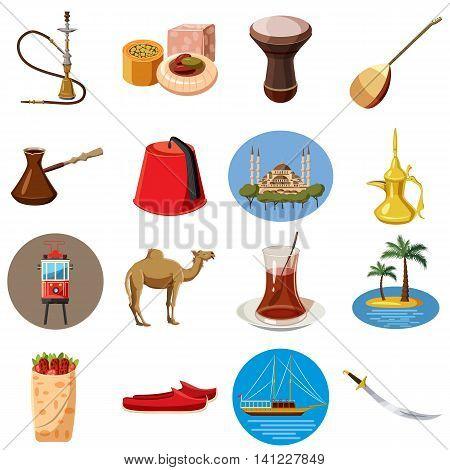 Cartoon Turkey icons set. Universal Turkey icons to use for web and mobile UI, set of basic Turkey elements isolated vector illustration
