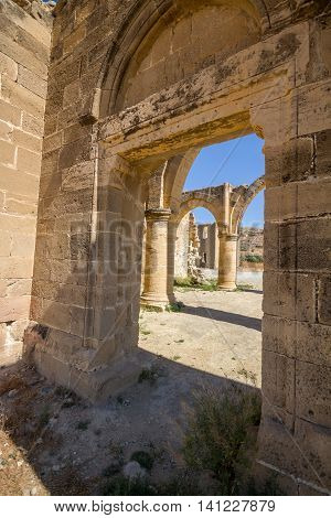 Agios Sozomenos Cyprus- May 7 2015: Agios Sozomenos is a deserted village in the Nicosia District of Cyprus located close to the Green Line near Geri and Potamia villages. Agios Sozomenos is said to have been named after an early Cypriot saint. Until 1964