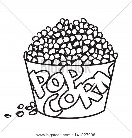 Vector illustration of big bowl of popcorn in black and white outlined doodle style