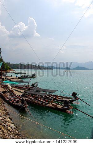 Long boat on Ratchaprapha Dam at Khao Sok National Park Surat Thani Thailand