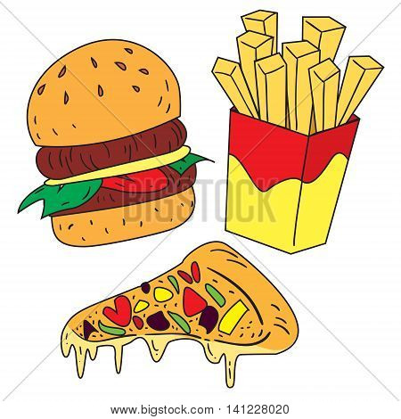 Vector illustration of fast foods burger french fries and pizza in colored doodle style