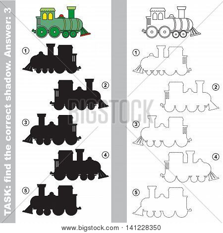 The toy locomotive with different shadows to find the correct one. Compare and connect object with it true shadow. Easy educational kid gaming. Simple level of difficulty. Visual game for children.
