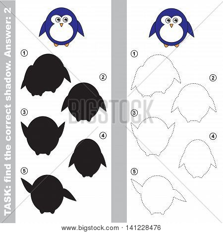 Cute Penguin with different shadows to find the correct one. Compare and connect object with it true shadow. Easy educational kid gaming. Simple level of difficulty. Visual game for children. Vector
