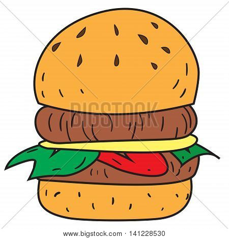 Vector illustration of big burger in colored doodle style