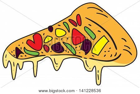 Vector illustration of pizza slice in colored doodle style