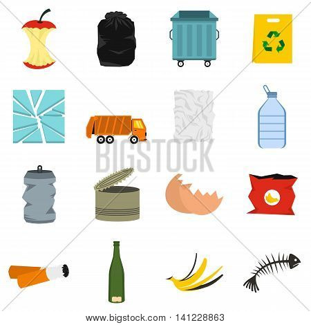 Flat garbage icons set. Universal garbage icons to use for web and mobile UI, set of basic garbage elements isolated vector illustration