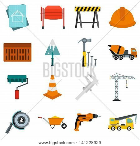 Flat architecture icons set. Universal architecture icons to use for web and mobile UI, set of basic architecture elements isolated vector illustration