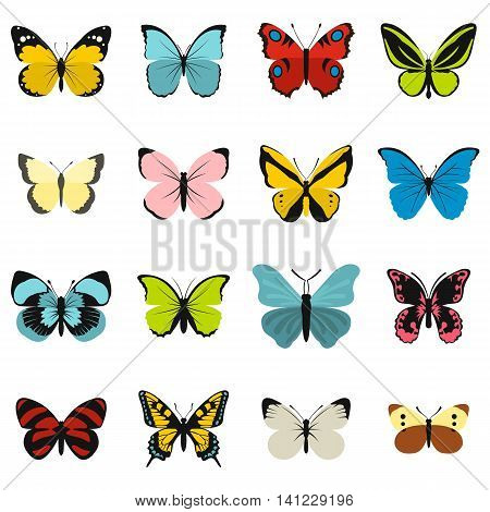Flat butterfly icons set. Universal butterfly icons to use for web and mobile UI, set of basic butterfly elements isolated vector illustration