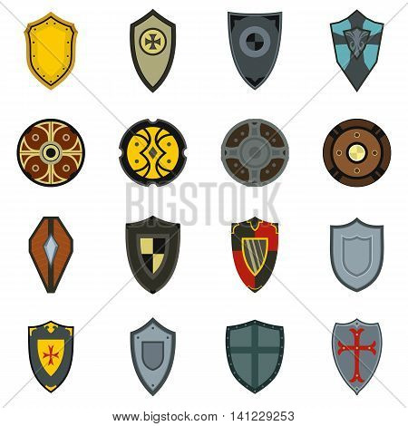 Flat shield icons set. Universal shield icons to use for web and mobile UI, set of basic shield elements isolated vector illustration
