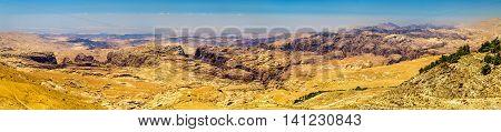 Panorama of the Wadi Musa mountains near Petra - Jordan