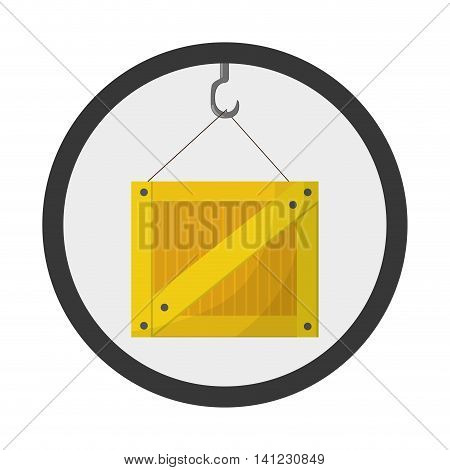flat design crane hook with box icon vector illustration