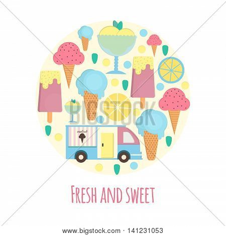 Ice cream van and bar in flat style. Vector illustration in circle shape for bars restaurants menu.