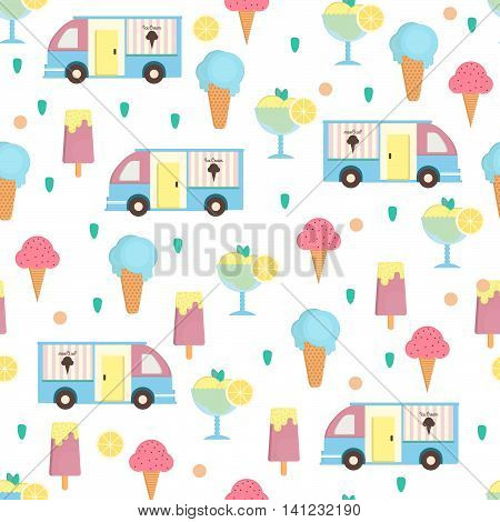 Ice cream seamless pattern in flat style. Background with eskimo ice cream cone and sorbet and ice cream van. Vector illustration for print textile wallpaper and menus.