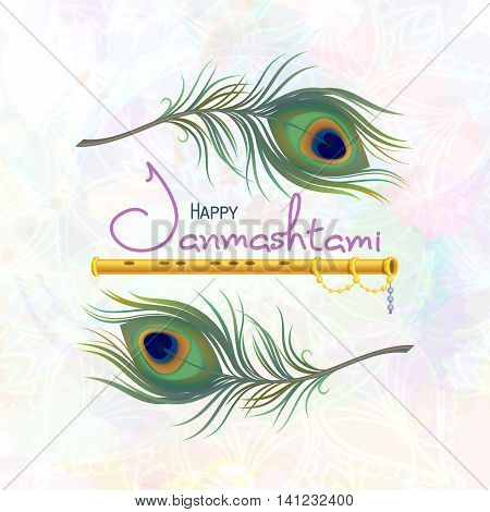 Happy Janmashtami. Greeting card for Krishna Janmashtami. Indian fest - celebrating birth of Krishna. Template for creative flyer, banner, poster. Vector illustration peacock feather and flute