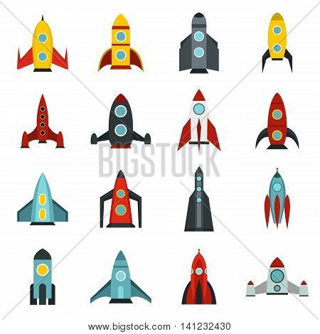 Flat rocket icons set. Universal rocket icons to use for web and mobile UI, set of basic rocket elements isolated vector illustration
