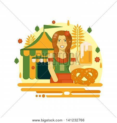 Oktoberfest poster with beer pretzel tent and waitress. Octoberfest vector illustration in flat style for festive banners advertisement and web.