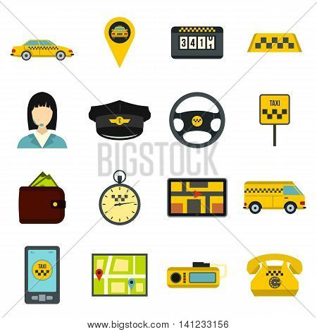 Flat taxi icons set. Universal taxi icons to use for web and mobile UI, set of basic taxi elements isolated vector illustration