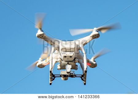 Seoul South Korea - November 17 2015: Drone quadcopter Dji Phantom 3 Professional with high resolution digital camera. New tool for aerial photo and video.