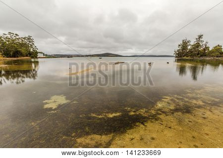 Cloudy and mystic landscape in Georges Bay, St Helens, the most important city on the East Coast, Tasmania, Australia.