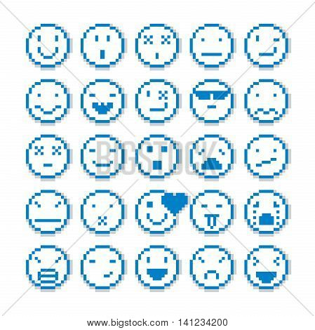 Vector pixel icons isolated. Set of faces created in different emotional expressions simplistic digital signs.