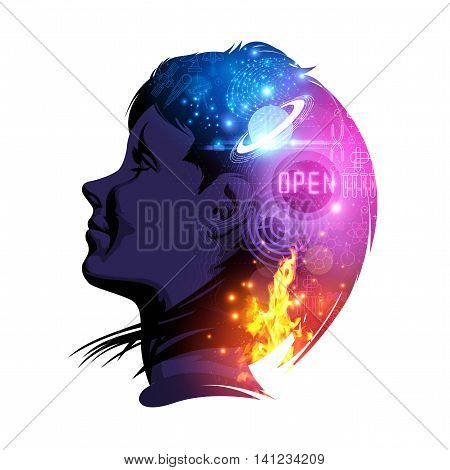 A woman smiling with science and education on her mind. Creative double exposure vector illustration.