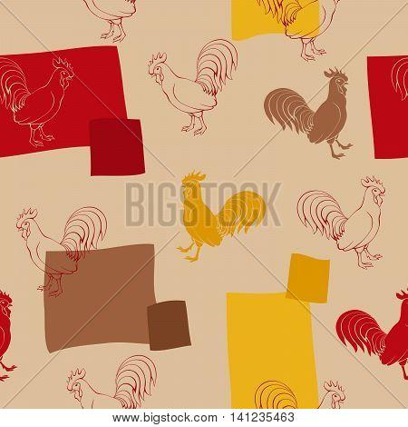 Cock bird red beige brown yellow seamless pattern illustration vector