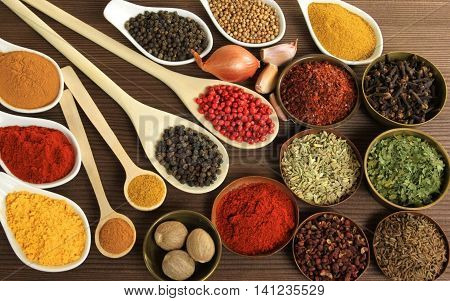 Spices and herbs for cooking on white background, Top view spices on white background, indian spices for making something food on the world, spices content, Various kinds of spices  background